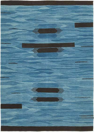 "New Contemporary Handwoven Wool Rug - 5'11"" x 8'4"" (71 in. x 100 in.) - Old Yarn"