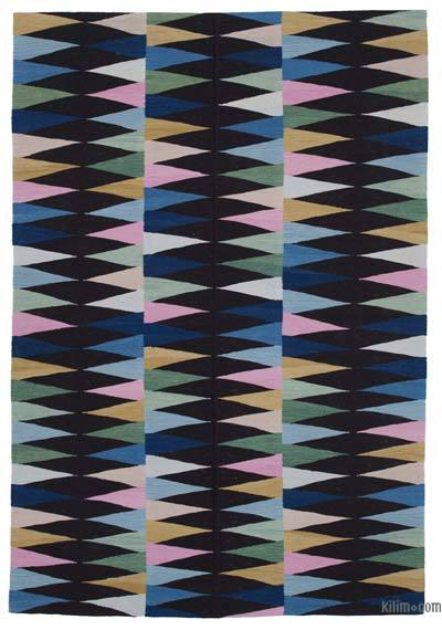 Multicolor New Contemporary Handwoven Wool Rug - 5'8'' x 8'4'' (68 in. x 100 in.) - Old Yarn