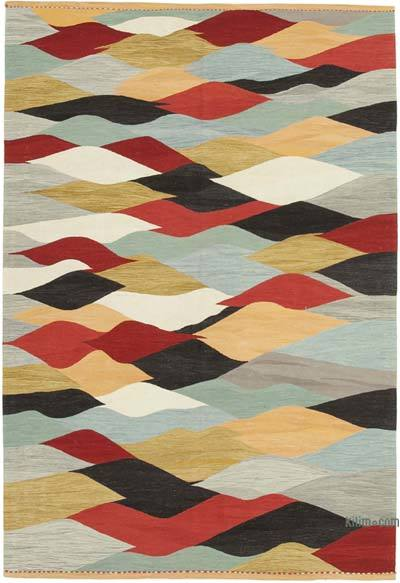 New Contemporary Handwoven Wool Rug - 6'8'' x 9'11'' (80 in. x 119 in.) - Old Yarn