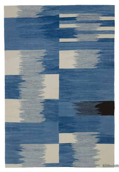 New Contemporary Handwoven Wool Rug - 5'8'' x 8'4'' (68 in. x 100 in.) - Old Yarn