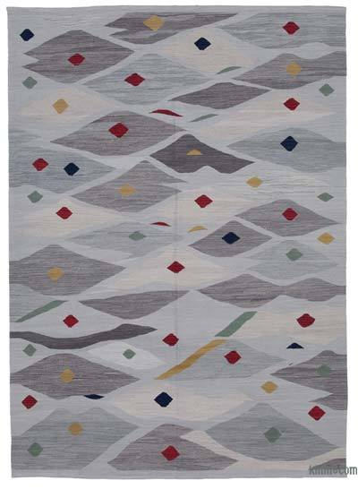 "New Contemporary Handwoven Wool Rug - 6'9"" x 9'6"" (81 in. x 114 in.) - Old Yarn"