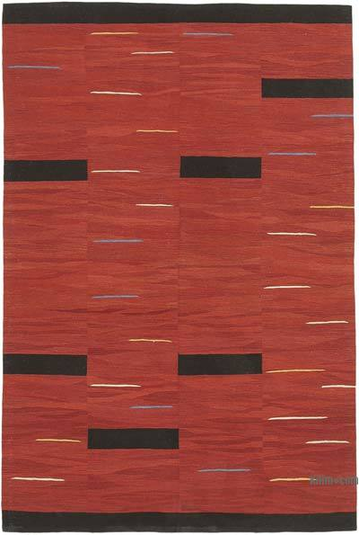 "New Contemporary Handwoven Wool Rug - 5'9"" x 8'7"" (69 in. x 103 in.) - Old Yarn"