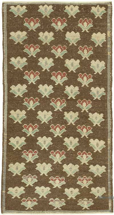 Beige All Wool Hand Knotted Vintage Area Rug