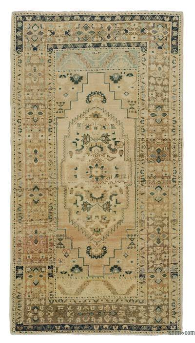 Beige, Blue All Wool Hand Knotted Vintage Area Rug