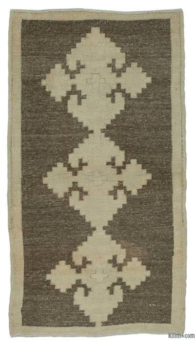Beige, Brown All Wool Hand Knotted Vintage Area Rug