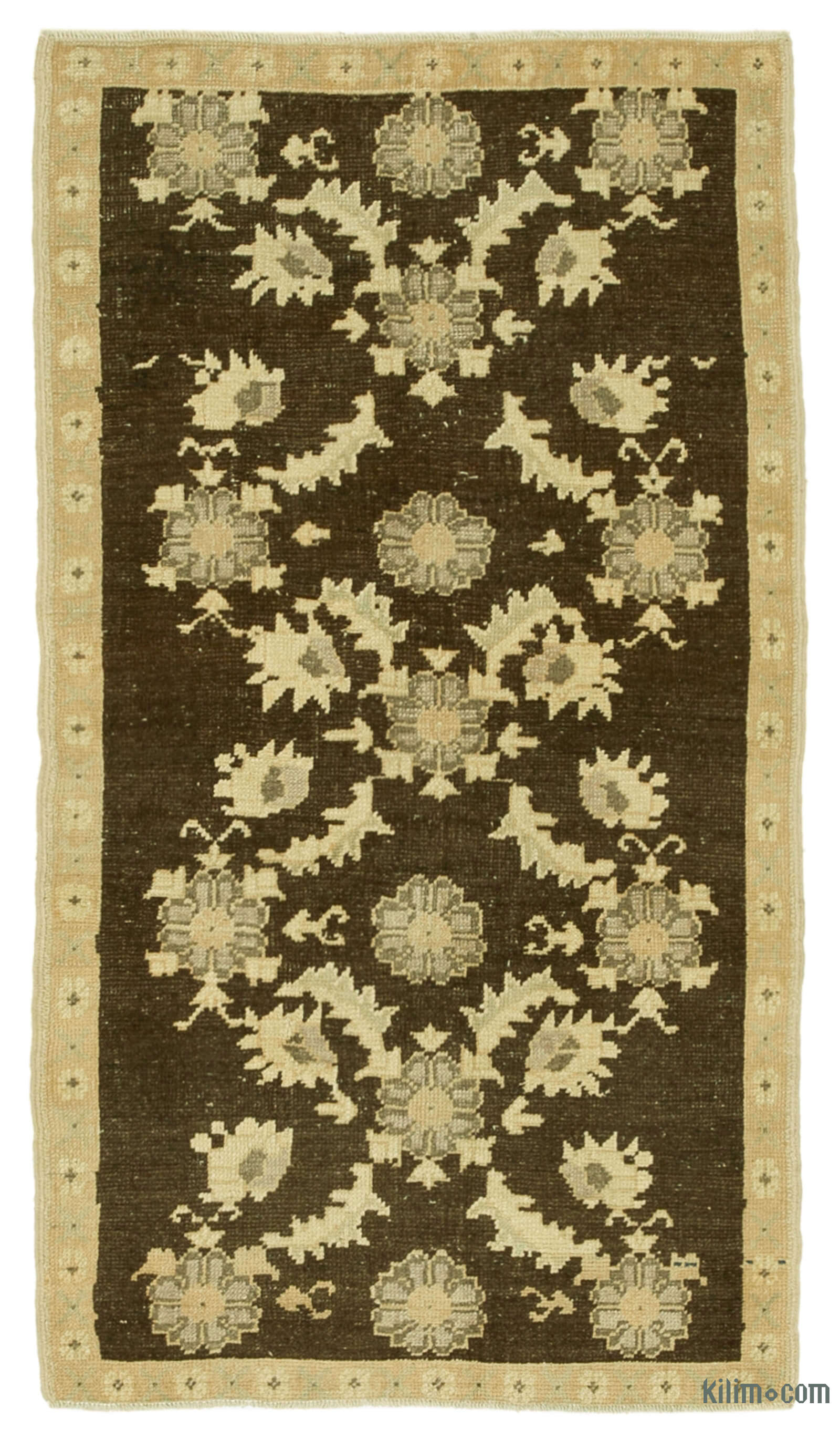 Beige Brown All Wool Hand Knotted Vintage Area Rug