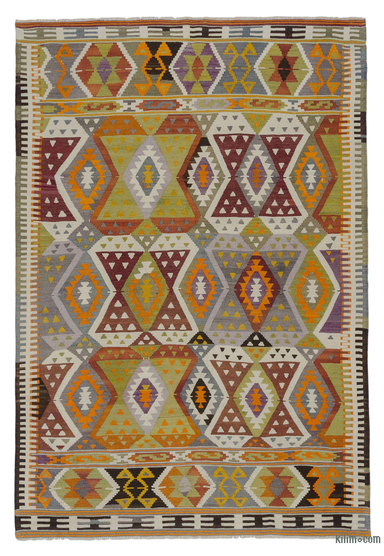 Multicolor Vintage Antalya Kilim Rug