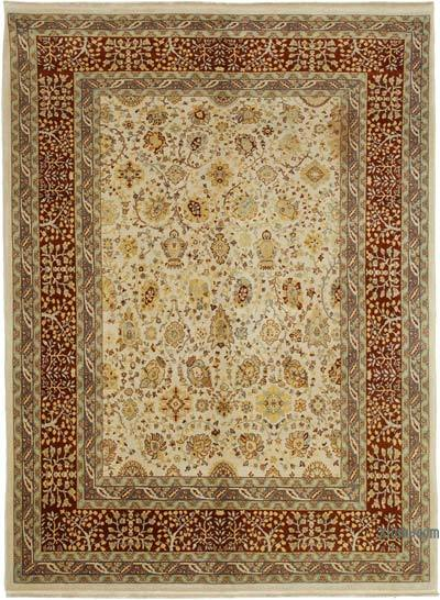 Red, Beige New Hand Knotted All Wool Oushak Rug - 6'6'' x 8'8'' (78 in. x 104 in.)