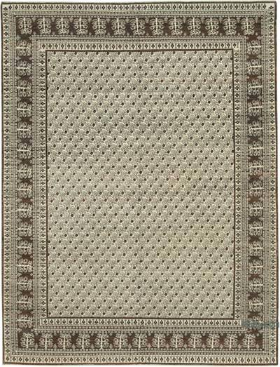 Brown, Beige New Hand Knotted All Wool Oushak Rug - 7'8'' x 10'2'' (92 in. x 122 in.)