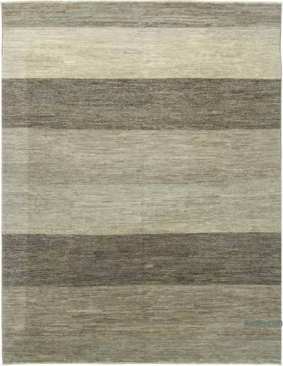 Grey, Beige New Hand Knotted All Wool Oushak Rug - 8'11'' x 11'7'' (107 in. x 139 in.)