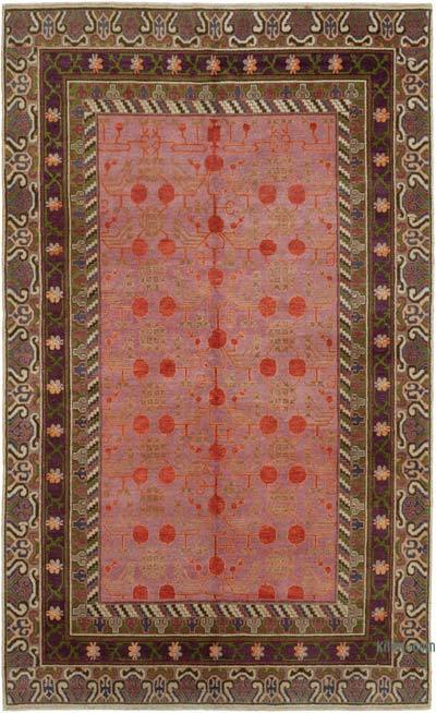 Brown, Multicolor New Hand Knotted All Wool Oushak Rug - 5'11'' x 9'5'' (71 in. x 113 in.)