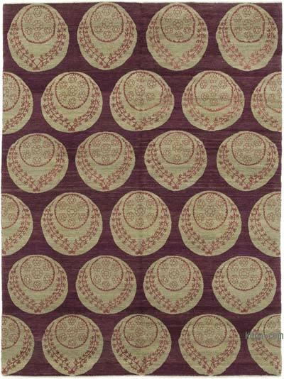 Purple, Beige New Hand Knotted All Wool Oushak Rug - 5'11'' x 8'1'' (71 in. x 97 in.)