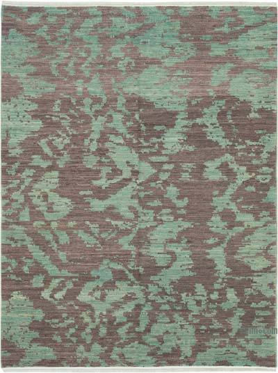 Brown, Green New Hand Knotted All Wool Oushak Rug - 5'1'' x 6'7'' (61 in. x 79 in.)
