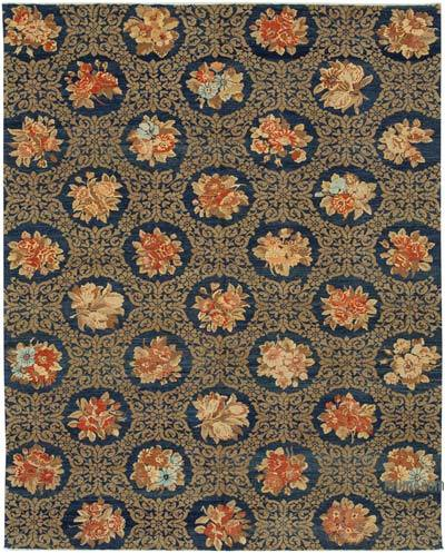 Blue, Brown New Hand Knotted All Wool Oushak Rug - 8' x 9'11'' (96 in. x 119 in.)