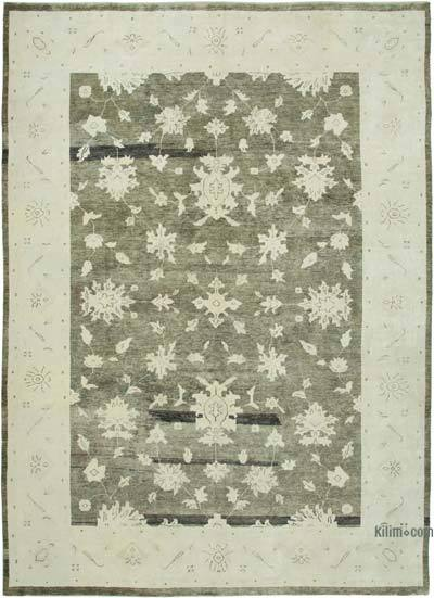 Green New Hand Knotted All Wool Oushak Rug - 9'4'' x 13'3'' (112 in. x 159 in.)
