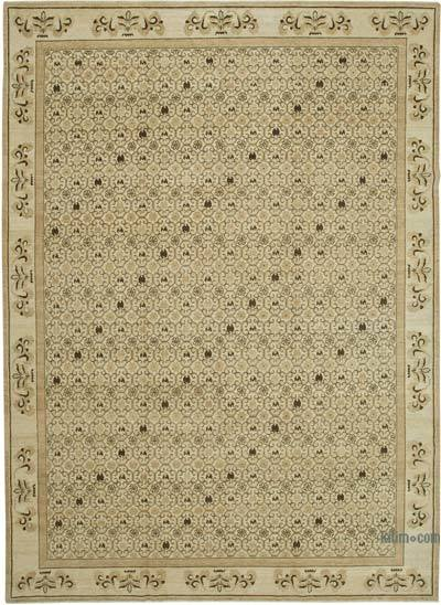 Beige New Hand Knotted All Wool Oushak Rug - 10' x 13'11'' (120 in. x 167 in.)