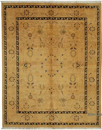Yellow New Hand Knotted All Wool Oushak Rug - 8' x 10' (96 in. x 120 in.)