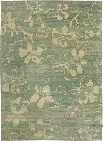 Green New Hand Knotted All Wool Oushak Rug - 10'1'' x 13'11'' (121 in. x 167 in.)