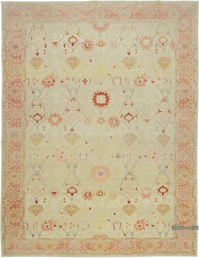 Beige, Red New Hand Knotted All Wool Oushak Rug - 10'9'' x 13'6'' (129 in. x 162 in.)