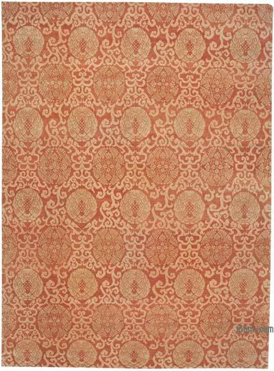 Red New Hand Knotted All Wool Oushak Rug - 10'4'' x 14' (124 in. x 168 in.)