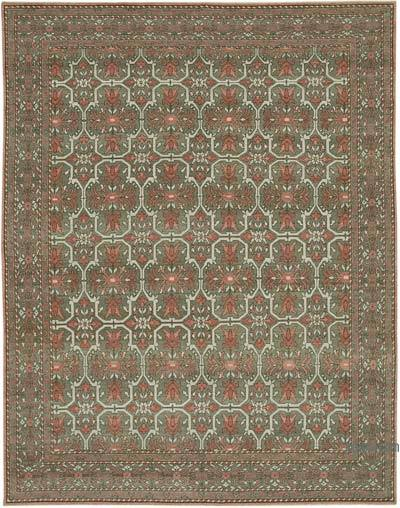 Brown, Red New Hand Knotted All Wool Oushak Rug - 9'2'' x 11'9'' (110 in. x 141 in.)