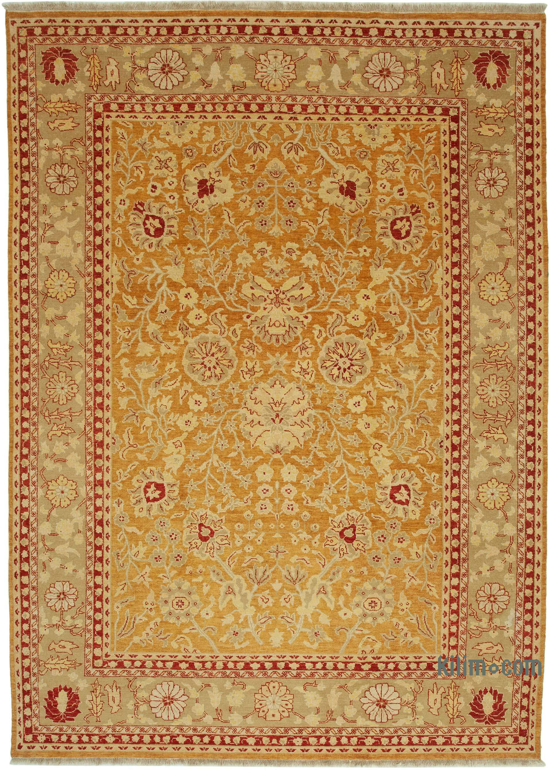 Orange New Hand Knotted All Wool Oushak Rug 10 X 14 1