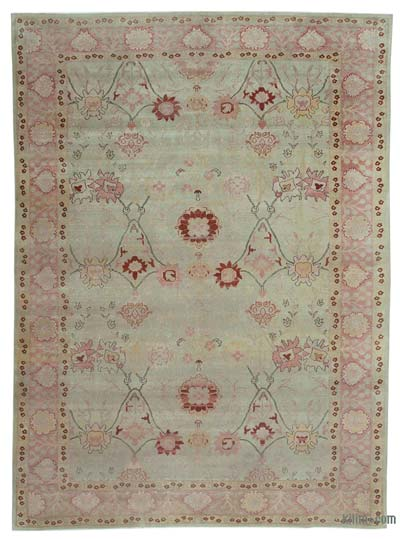 Beige New Hand Knotted All Wool Oushak Rug - 11'8'' x 8'6'' (140 in. x 102 in.)
