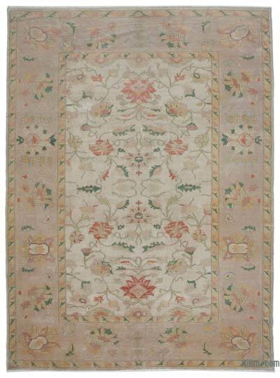 Beige, Yellow New Hand Knotted All Wool Oushak Rug - 10'1'' x 13'7'' (121 in. x 163 in.)