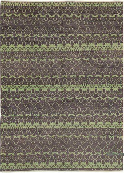 Purple New Hand Knotted All Wool Oushak Rug - 6'3'' x 8'6'' (75 in. x 102 in.)