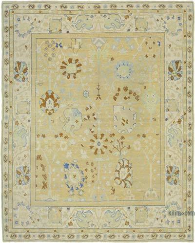 Beige New Hand Knotted All Wool Oushak Rug - 7'10'' x 9'11'' (94 in. x 119 in.)