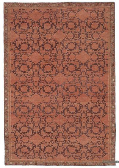 Orange New Hand Knotted All Wool Oushak Rug - 6'2'' x 8'10'' (74 in. x 106 in.)