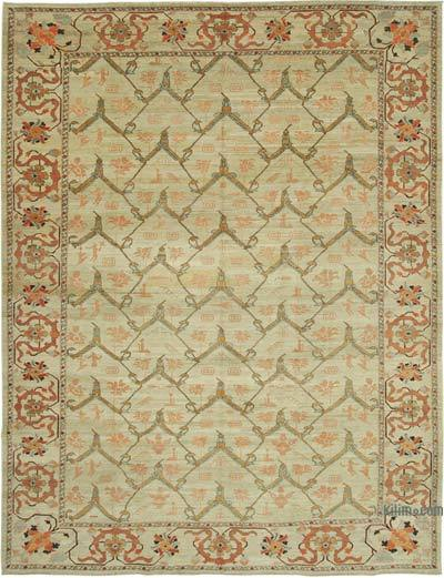 Beige New Hand Knotted All Wool Oushak Rug - 9'10'' x 12'9'' (118 in. x 153 in.)