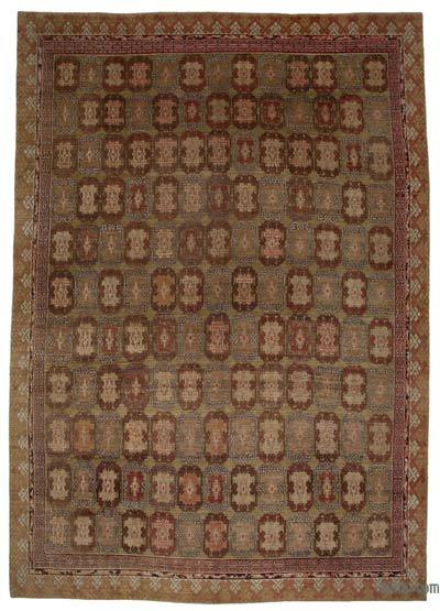 Green New Hand Knotted All Wool Oushak Rug - 12'8'' x 17'10'' (152 in. x 214 in.)