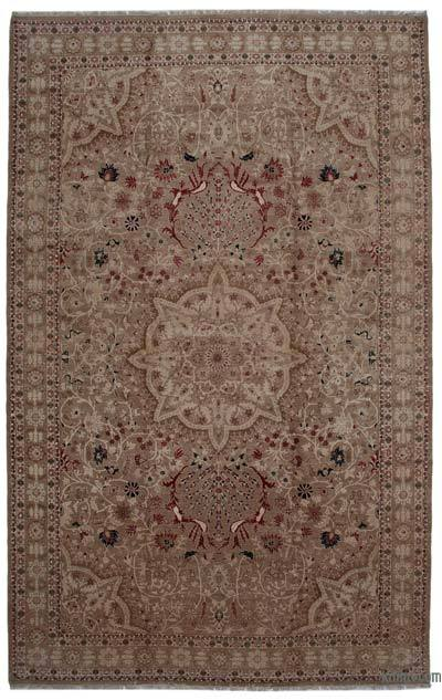 Beige, Brown New Hand Knotted All Wool Oushak Rug - 10'10'' x 17'7'' (130 in. x 211 in.)