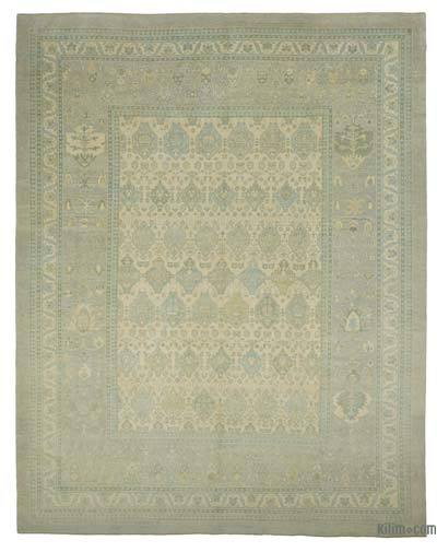 Beige, Blue New Hand Knotted All Wool Oushak Rug - 12'9'' x 16' (153 in. x 192 in.)