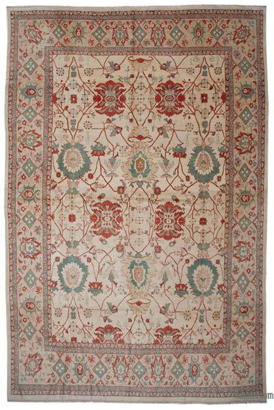 Beige, Red New Hand Knotted All Wool Oushak Rug - 11'5'' x 17'4'' (137 in. x 208 in.)