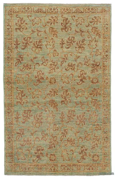Green New Hand Knotted All Wool Oushak Rug - 3'7'' x 5'10'' (43 in. x 70 in.)