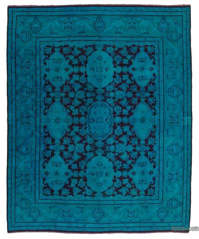 Turquoise Over-dyed Turkish Vintage Rug - 7'11'' x 10' (95 in. x 120 in.)