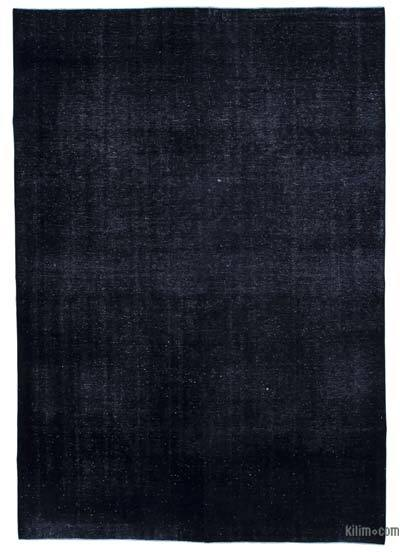 Black Over-dyed Turkish Vintage Rug - 7'9'' x 11' (93 in. x 132 in.)
