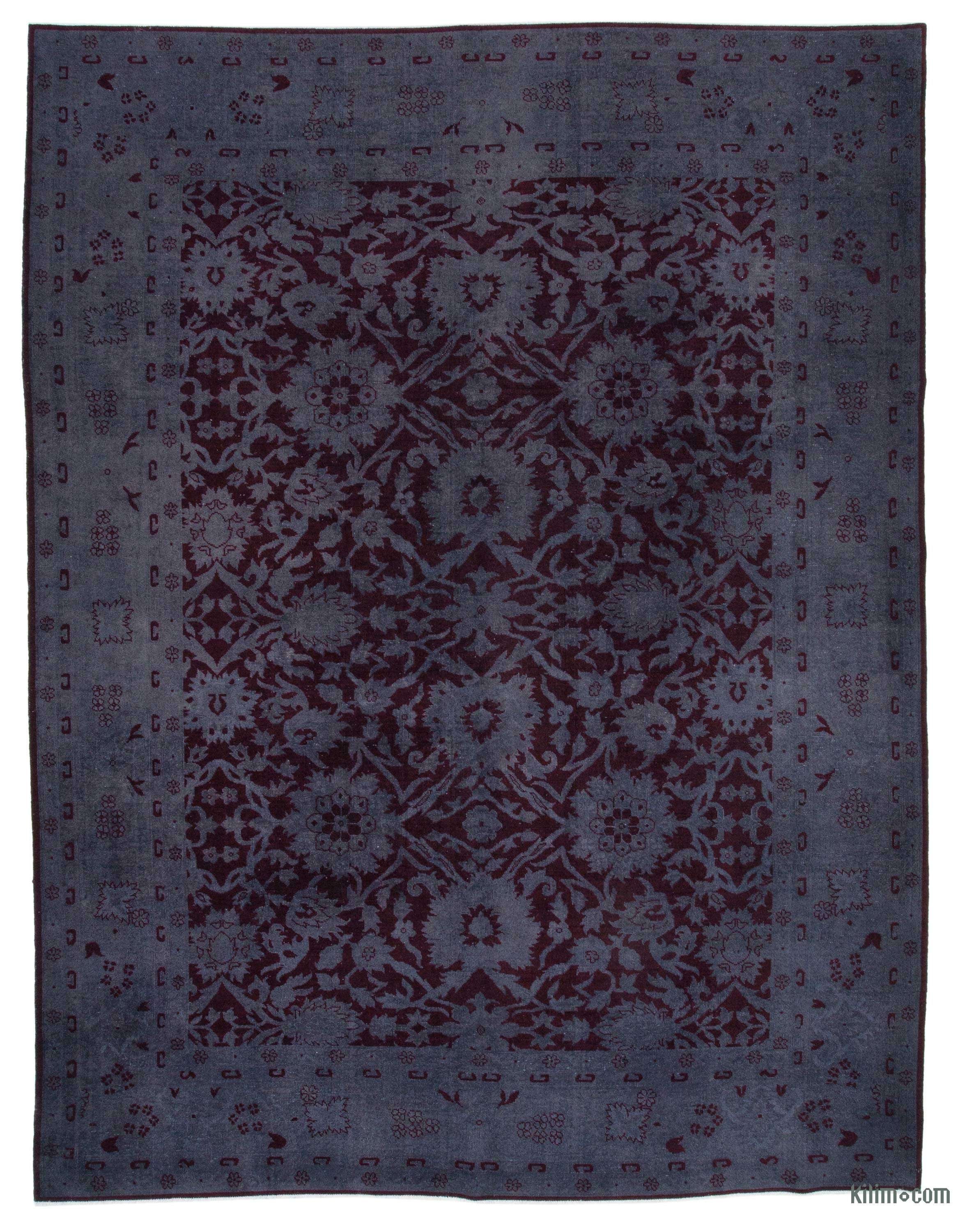 Purple Grey Over Dyed Vintage Hand Knotted Oriental Rug 9 2 X 11 8 110 In X 140 In