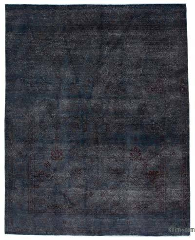 Blue, Grey Over-dyed Turkish Vintage Rug - 7'10'' x 9'10'' (94 in. x 118 in.)