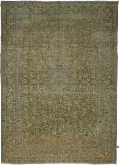 Beige, Yellow Over-dyed Turkish Vintage Rug - 9'8'' x 13'4'' (116 in. x 160 in.)
