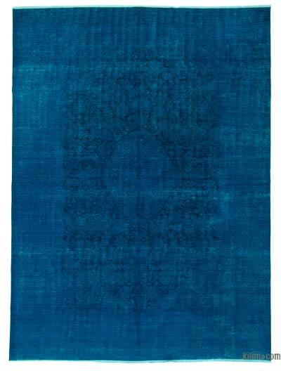 Blue Over-dyed Turkish Vintage Rug - 9'5'' x 12'10'' (113 in. x 154 in.)