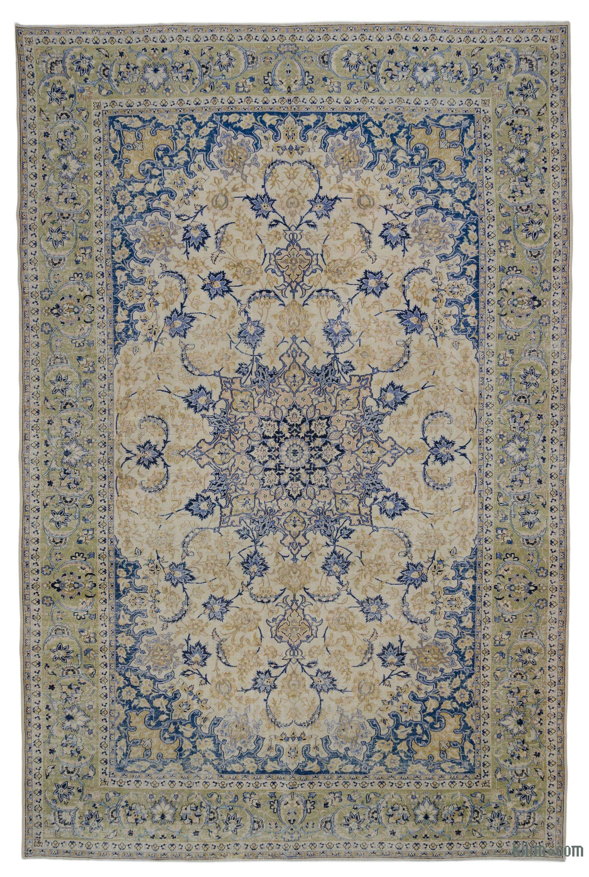 Blue Beige Vintage Hand Knotted Oriental Rug 10 1 X 15 7 121 In X 187 In
