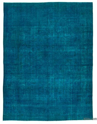 Blue Over-dyed Turkish Vintage Rug - 9'7'' x 12'8'' (115 in. x 152 in.)