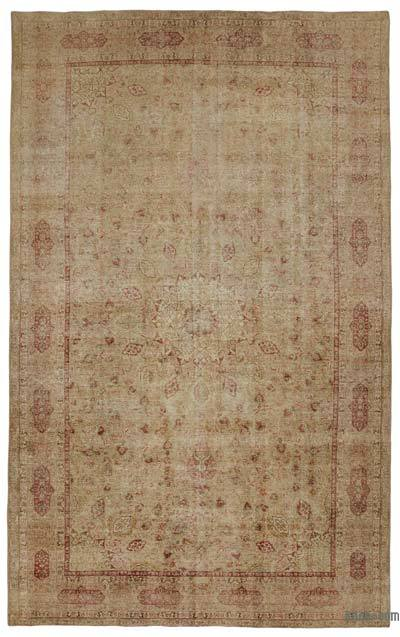 Beige Over-dyed Turkish Vintage Rug - 9'10'' x 15'10'' (118 in. x 190 in.)