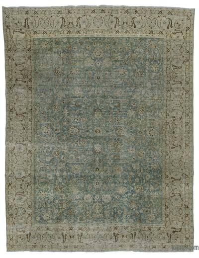 Blue, Beige Over-dyed Turkish Vintage Rug - 9'6'' x 12'6'' (114 in. x 150 in.)