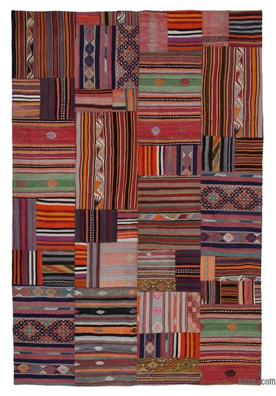 Multicolor Kilim Patchwork Rug - 6'8'' x 9'11'' (80 in. x 119 in.)