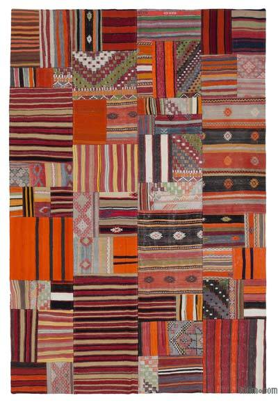 Multicolor Kilim Patchwork Rug - 6'7'' x 9'10'' (79 in. x 118 in.)