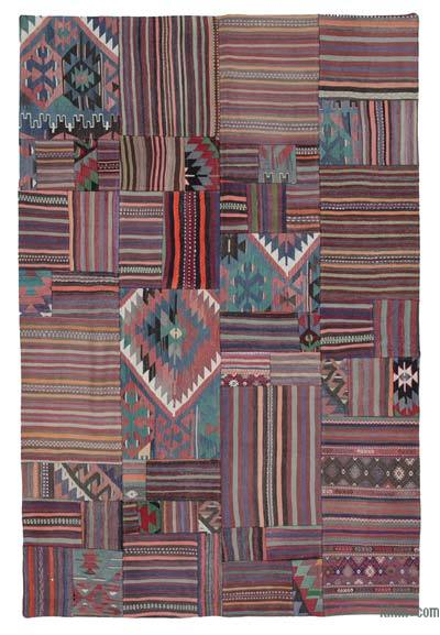 Multicolor Kilim Patchwork Rug - 6'7'' x 9'11'' (79 in. x 119 in.)